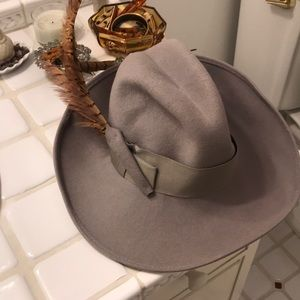 Vintage 1960's Hat With Feather One Size Grey